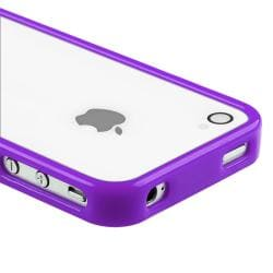 Purple Shiny Bumper TPU Rubber Skin Case  for Apple iPhone 4/ 4S