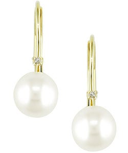 Miadora 14-kt. Diamond 6.5-7 mm Cultured Pearl Earrings