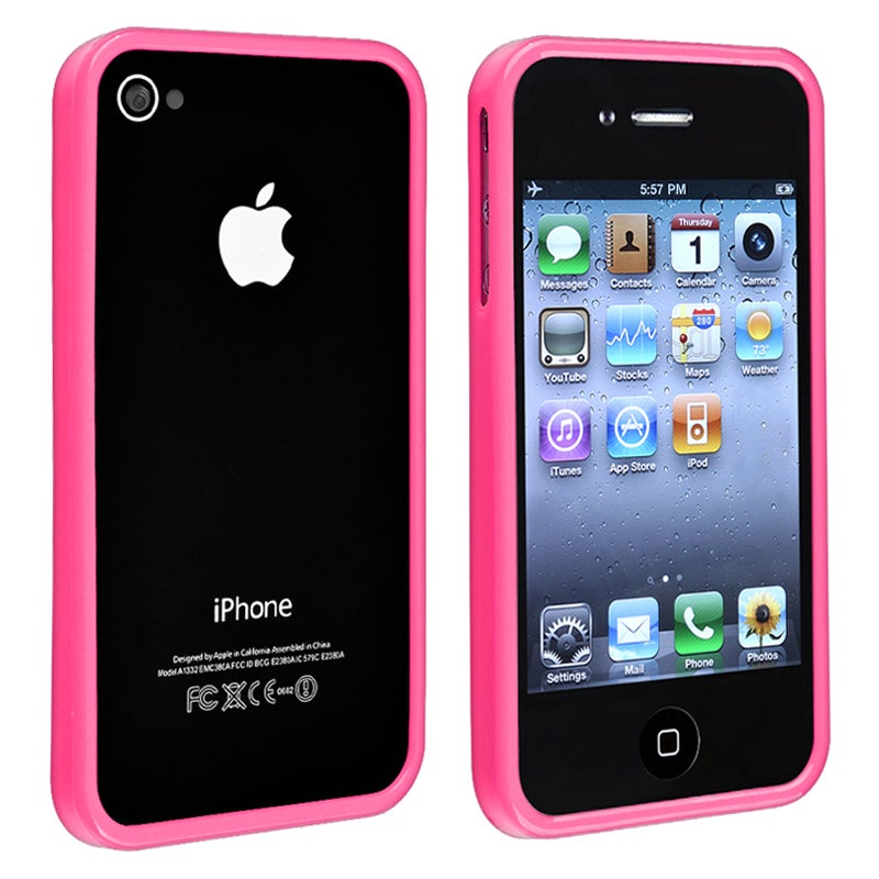 INSTEN Pink Shiny Bumper TPU Rubber Skin Phone Case Cover for Apple iPhone 4/ 4S
