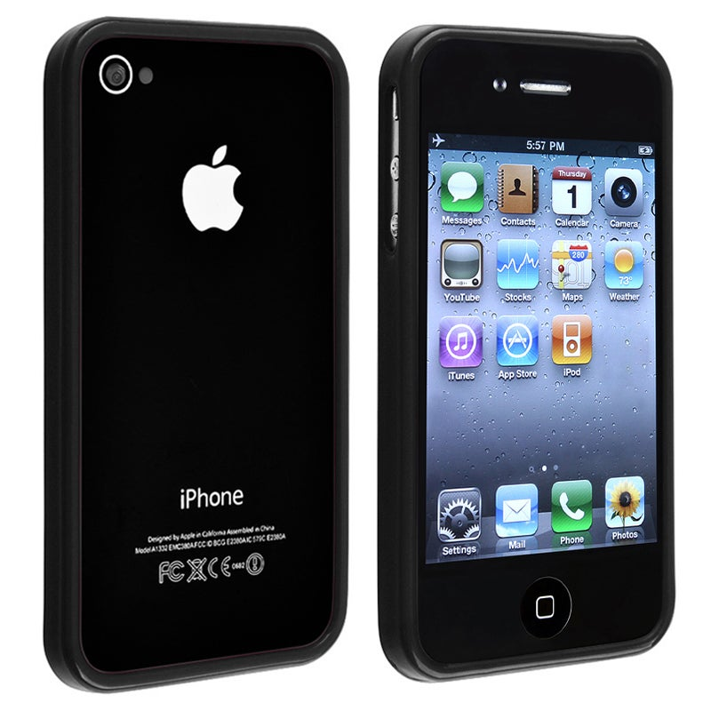 INSTEN Black Shiny Bumper TPU Rubber Skin Phone Case Cover for Apple iPhone 4/ 4S