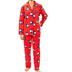 Leisureland Women's Penguin Print Pajama Set