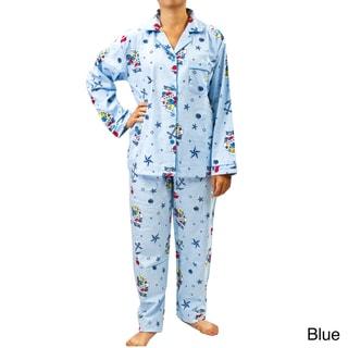 Leisureland Women's Nautical Print Pajama Set
