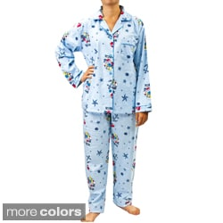 Leisureland Women's Nautical Print Pajama Set