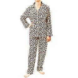 Leisureland Women's Wild Leopard Print Pajamas Set
