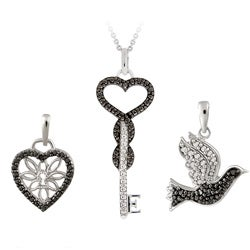 DB Designs Rhodium-plated Black Diamond Accent Heart, Key and Bird Necklace Set