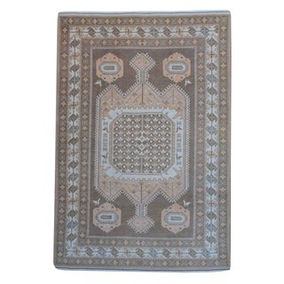 Afghan Hand-knotted Vegetable Dye Brown/ Ivory Wool Rug (6'10 x 9'10)