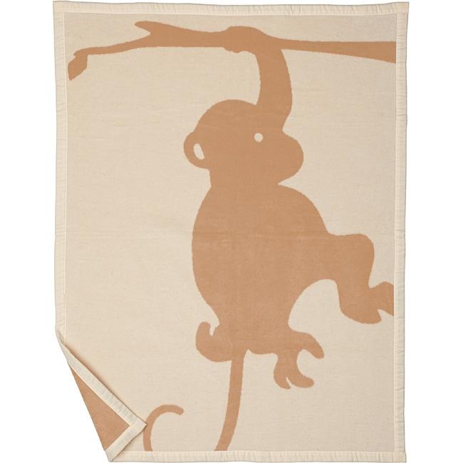 Bocasa Beige Monkey Organic Baby Blanket