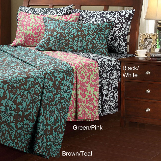 Damask Microfiber Full-size Sheet Set