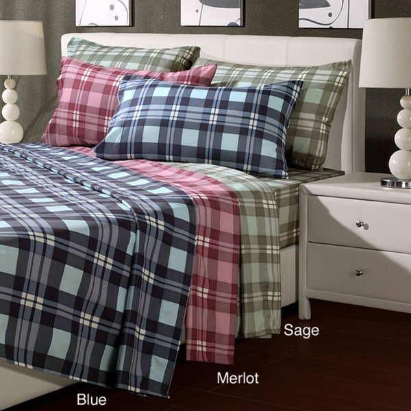 Plaid Microfiber Queen-size Sheet Set