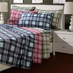 Plaid Microfiber Twin-size Sheet Set