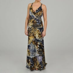 Ignite Women's Beaded Floral and Animal-print Long Halter Gown