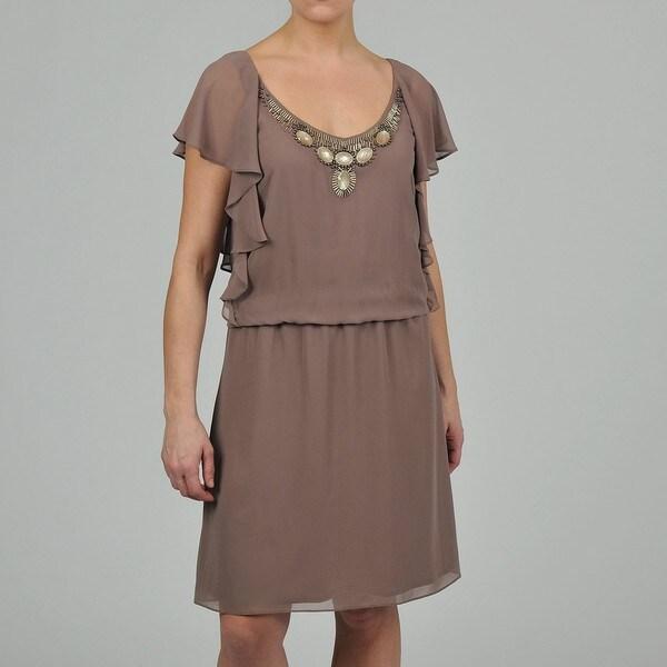 S.L. Fashions Women's Beaded Neckline Blouson Dress