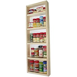 WG Wood Products Solid Pine Wood Surface Mounted Kitchen Spice Rack