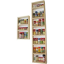 WG Wood Products Two-Piece Solid Wood Surface Mounted Kitchen Spice Rack