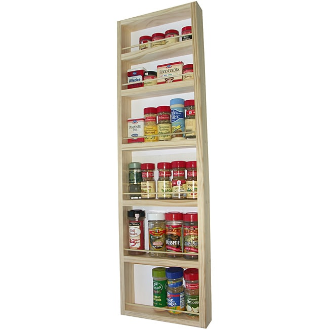 WG Wood Products Solid Wood Surface Mounted Kitchen Spice Rack with Posterboard Back