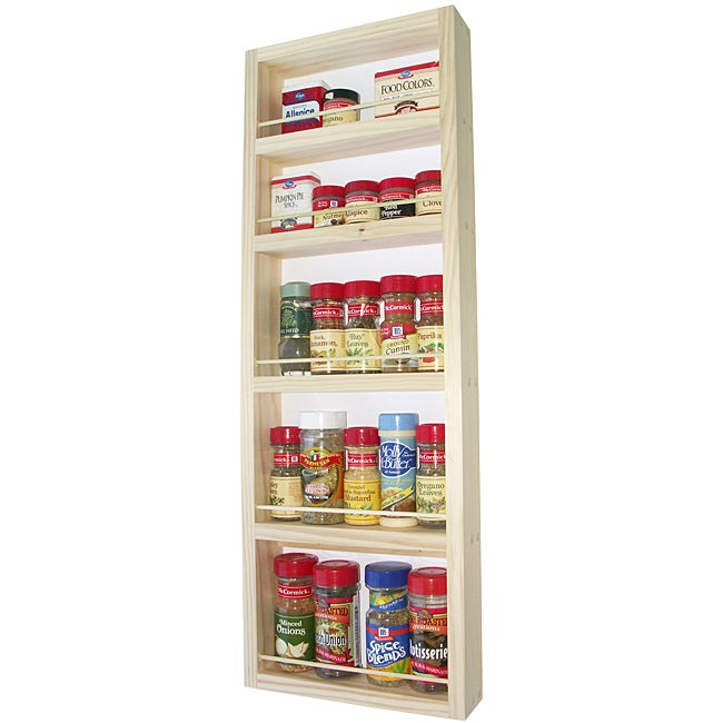WG Wood Products Solid Wood Five-Shelf Surface Mounted Kitchen Spice Rack