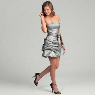 Jessica McClintock Women's Platinum Ruffle Dress