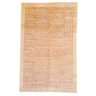 Afghan Hand-knotted Vegetable Dye Beige/ Red Wool Rug (6'3 x 9'9)