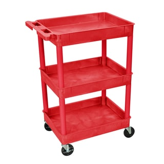 Luxor Red 3 Tub Tall Utility Cart