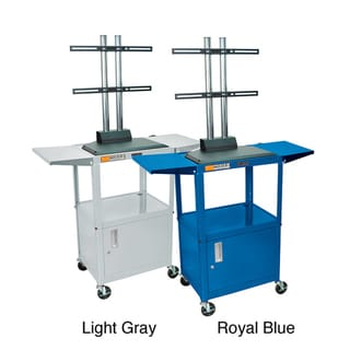 Luxor Drop Leaf Flat Panel Adjustable AV Cart with Cabinet
