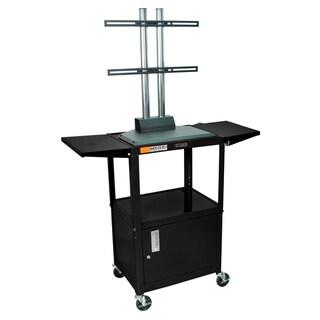 Luxor Black Flat Panel AV Cart with Cabinet and Foldable Side Shelves