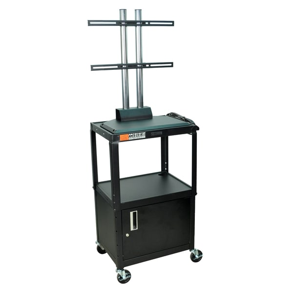 Luxor Black Flat Panel Adjustable AV Cart with Cabinet