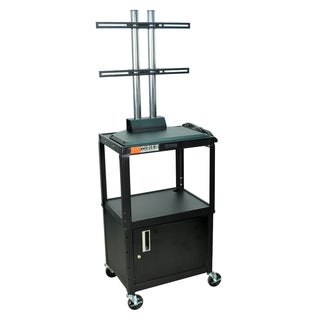 Luxor Black Flat Panel Adjustable AV Cart with Cabinet