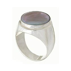 Sterling Silver 'Deep Sea' Pearl Ring (15 mm) (Indonesia)