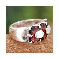Sterling Silver 'Love Talks' Garnet Cocktail Ring (India)