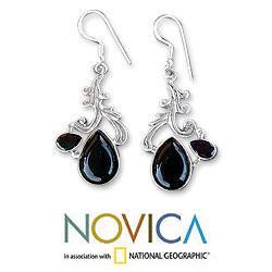 Sterling Silver 'Black Blush' Multi-gemstone Earrings (India)