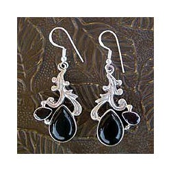 Sterling Silver 'Black Blush' Multi-gemstone Earrings (India)
