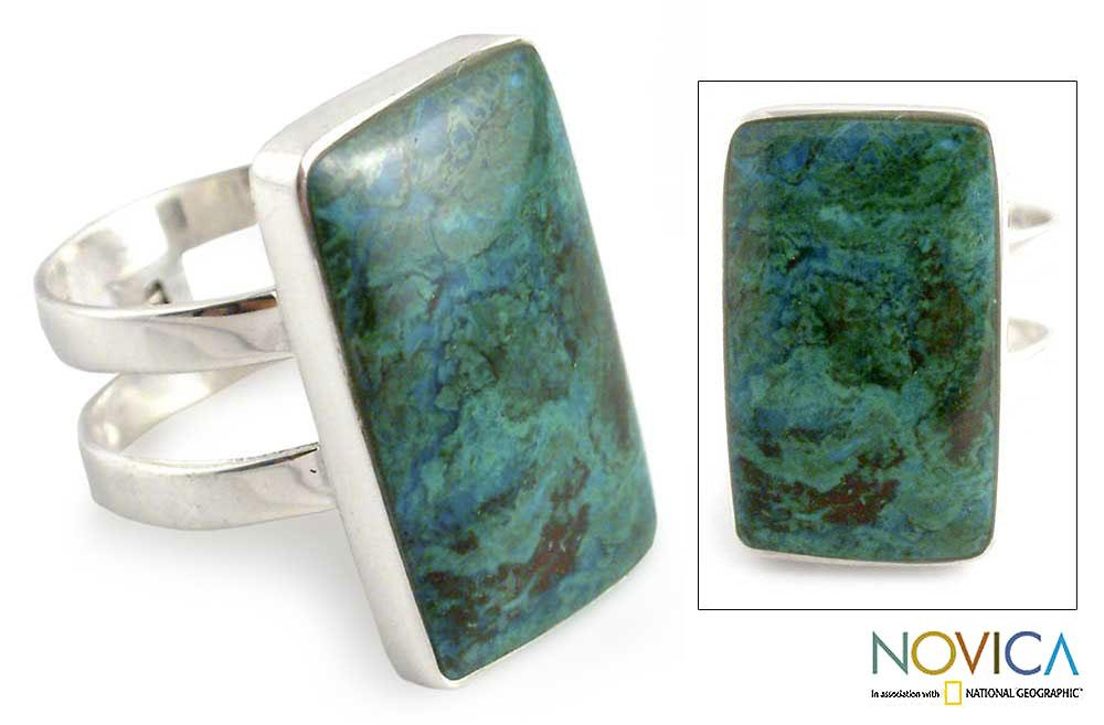 Sterling Silver 'Amazon Blue' Chrysocolla Ring (Peru)