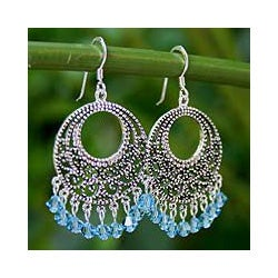 Sterling Silver 'Moroccan Freeze' Chandelier Earrings (Thailand)