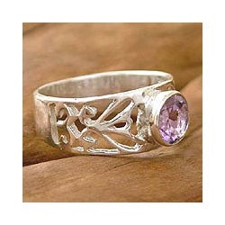 Sterling Silver 'Floral Embrace' Amethyst Solitaire Ring (India)