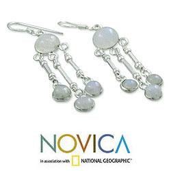 Sterling Silver 'India Dreamer' Moonstone Earrings (India)