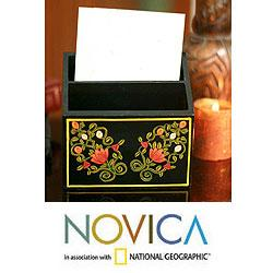 Handcrafted Wood 'Mughal Bouquet' Letter Box (India)