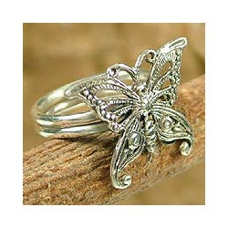 Sterling Silver 'Butterfly' Cocktail Ring (India)