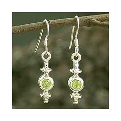 Sterling Silver 'Lighted Lantern' Peridot Earrings (India)