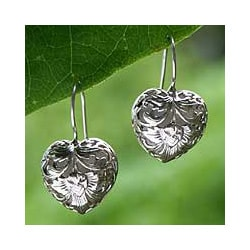 Sterling Silver 'Flourishing Love' Heart Earrings (Indonesia)
