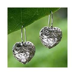 Sterling Silver 'Flourishing Love' Heart Earrings (Indonesia)