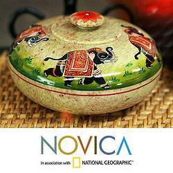 Handcrafted Soapstone 'Royal Fortune' Bowl and Lid (India)