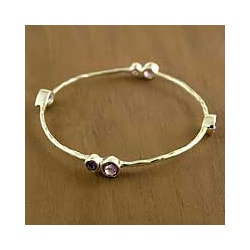 Sterling Silver 'Tango' Amethyst Bangle Bracelet (India)