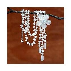Stainless Steel 'Floral Rain' Quartz Necklace (Thailand)