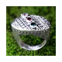 Sterling Silver 'Regal' Multi-gemstone Ring (Indonesia)