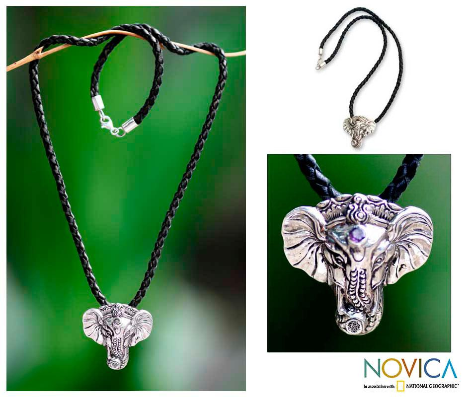 Sterling Silver Men's 'Wise Ganesha' Leather Necklace (Indonesia)