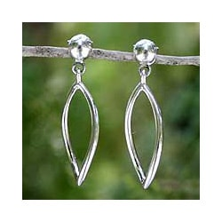 Sterling Silver 'Hollow Leaf' Dangle Earrings (Thailand)