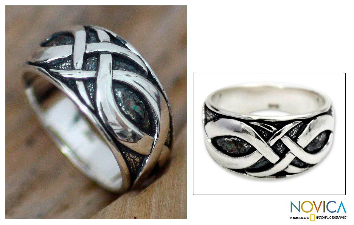 Sterling Silver Men's 'Dragon Art' Ring (Indonesia)