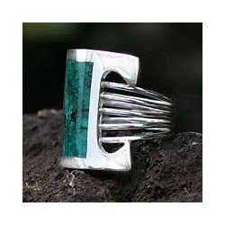 Sterling Silver 'Imagination' Chrysocolla Cocktail Ring (Peru)
