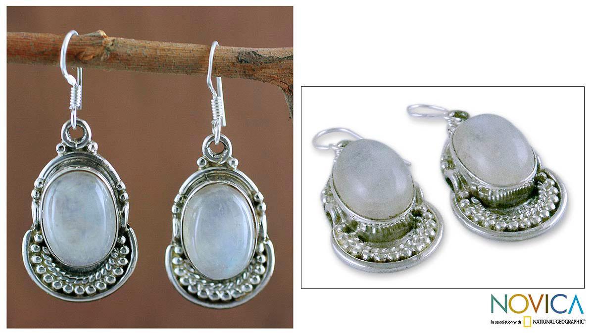 Sterling Silver 'Rainbow Ice' Moonstone Earrings (India)