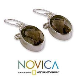 Sterling Silver 'At Twilight' Smoky Quartz Earrings (India)